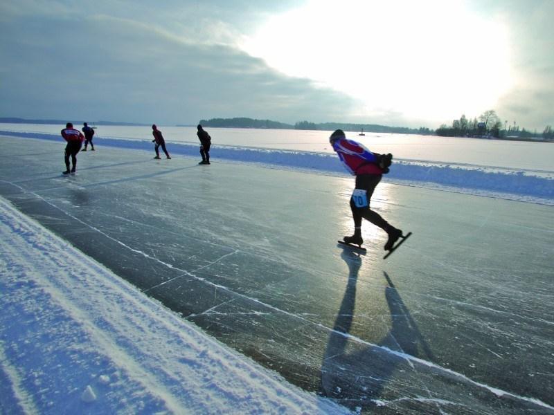 Skating on Finnish lake Saimaa